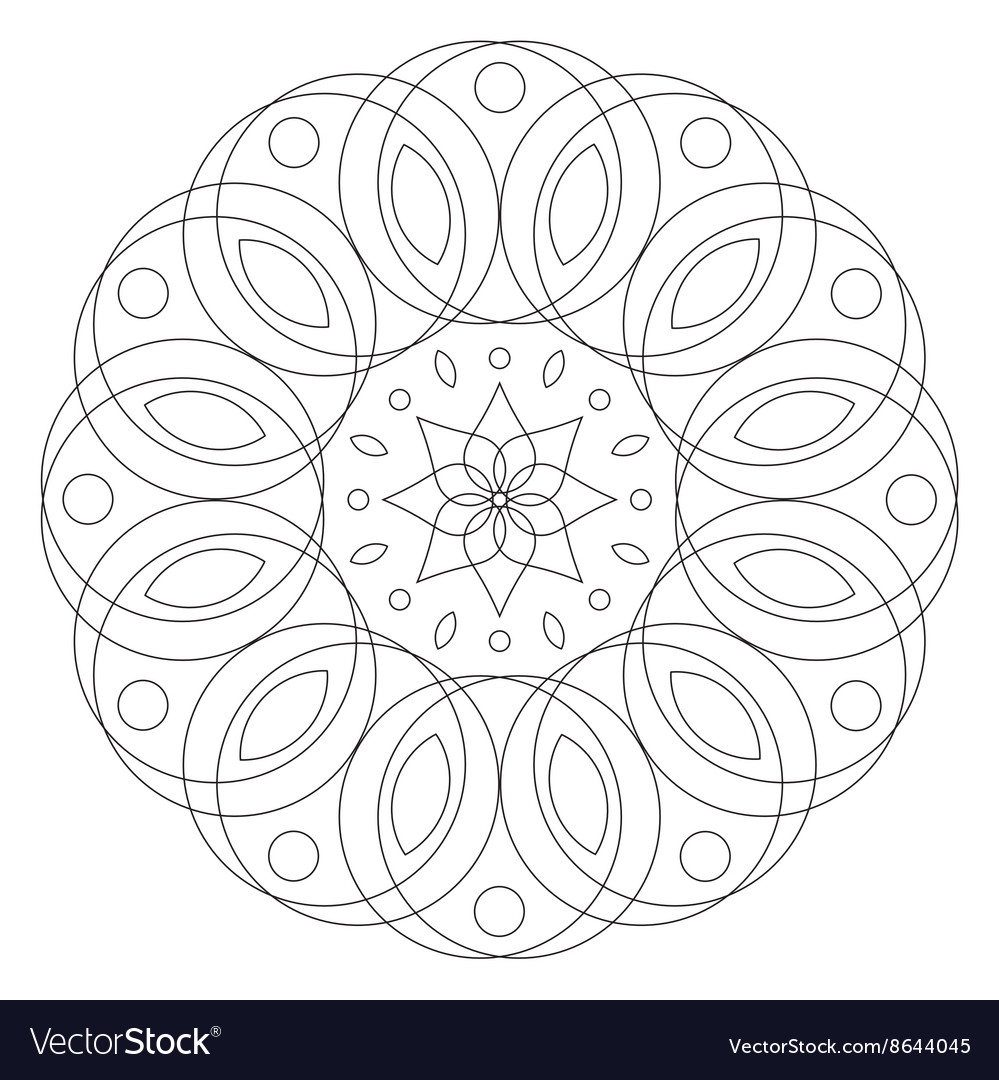 Round floral ornament coloring mandala page vector