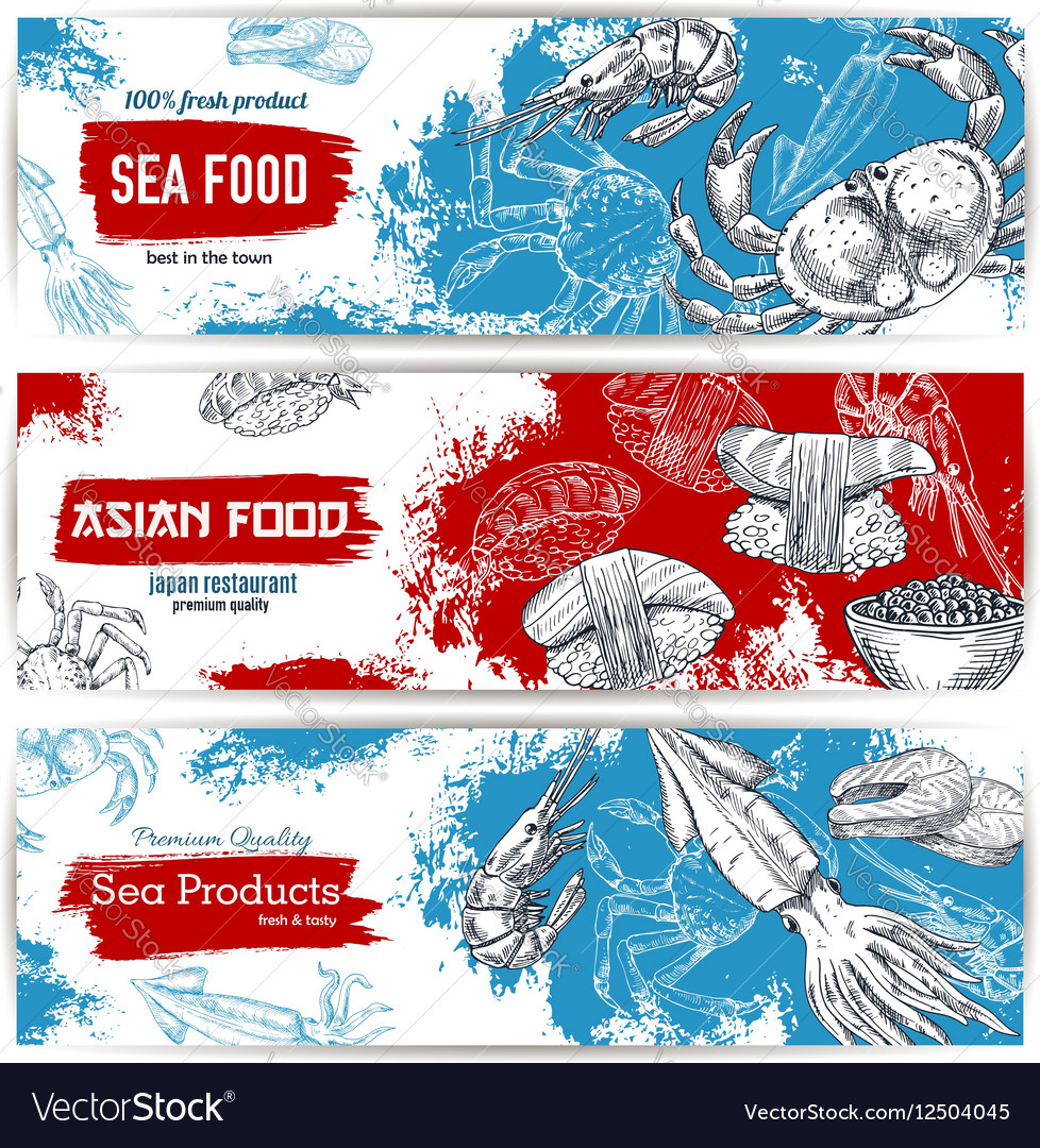 Seafood and japanese cuisine restaurant banner set vector