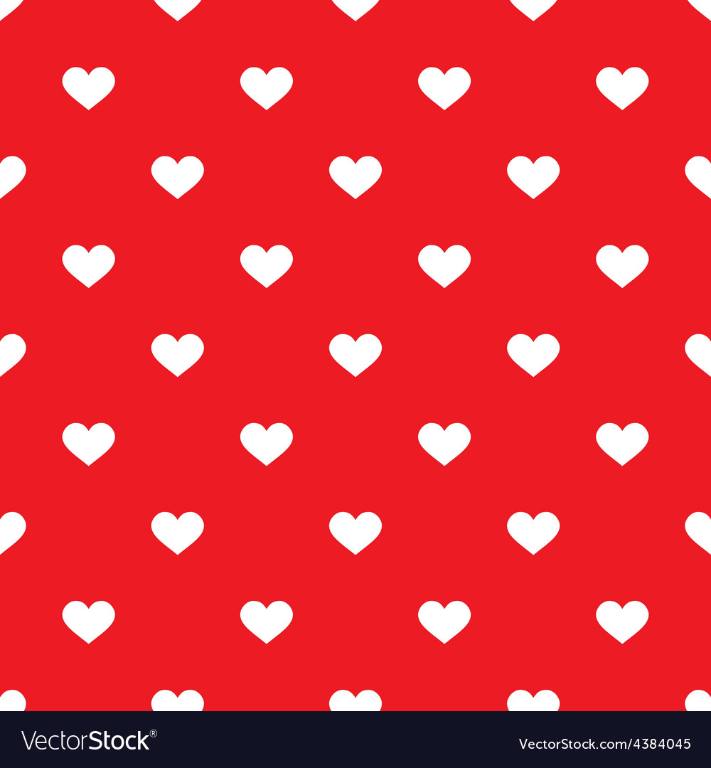 Tile pattern with white hearts on red backgrond vector