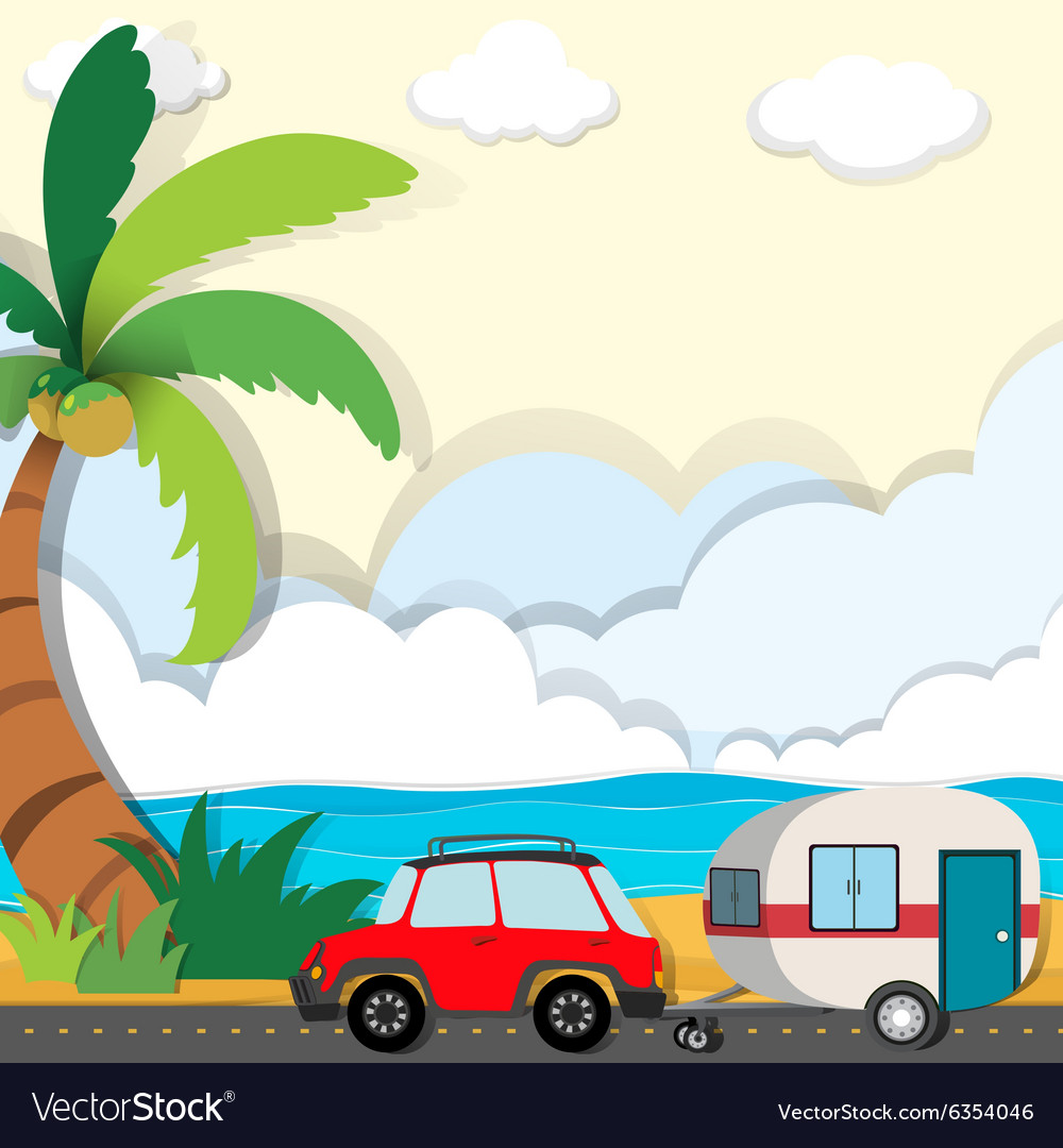 Car ride along the beach vector