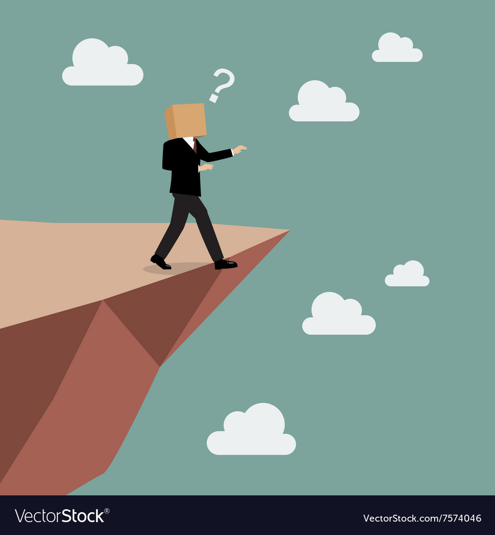 Cardboard businessman walk straight into the abyss vector