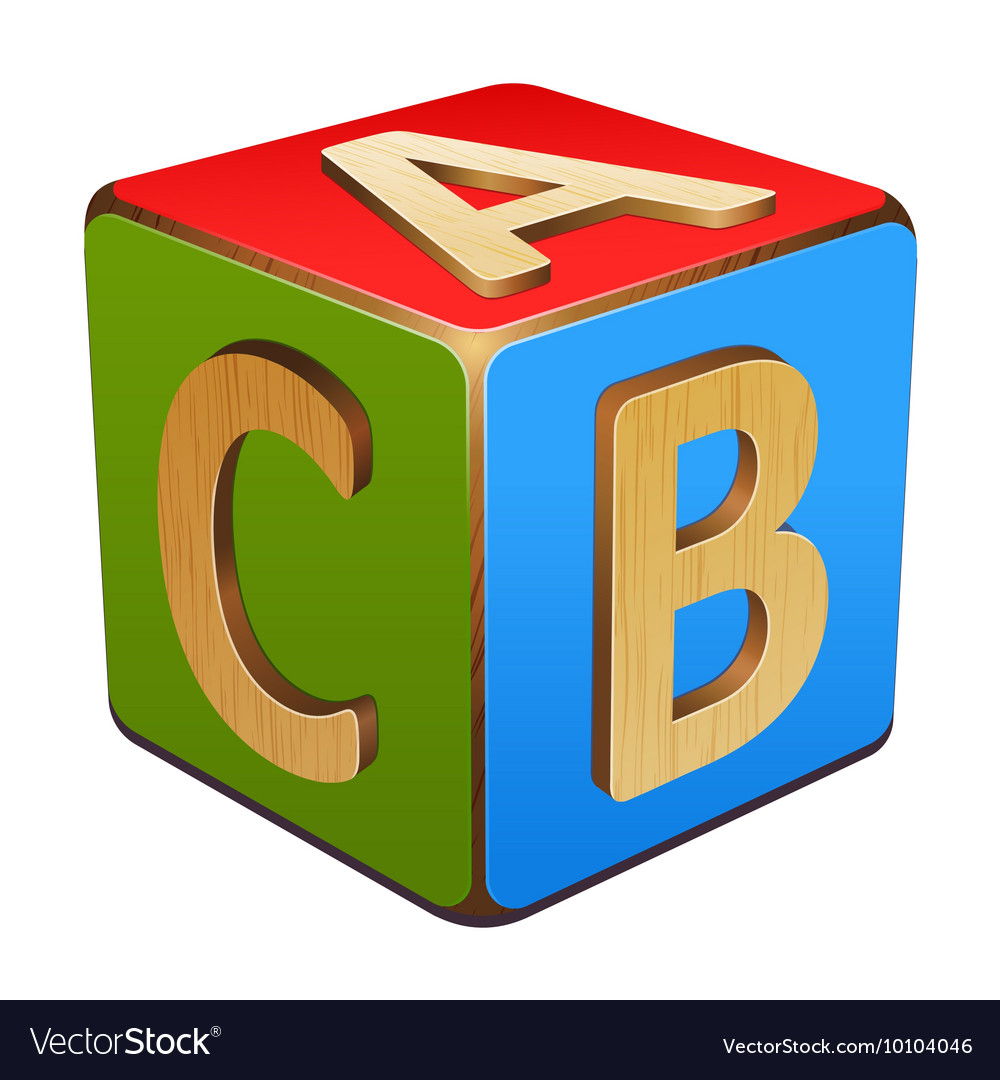 Wooden cube with letters abc vector