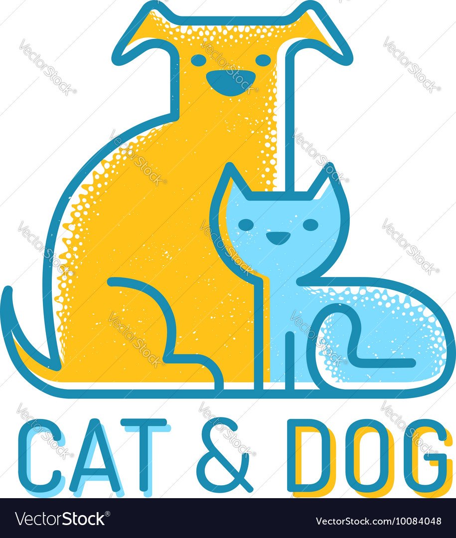 Cat dog flat retro vector
