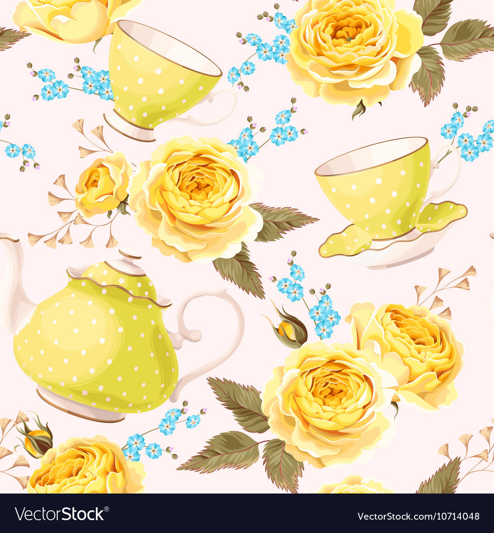 Seamless teapots cups and flowers vector