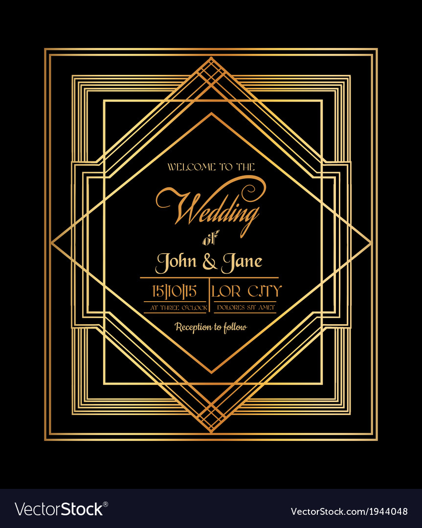 Wedding invitation card  art deco gatsby style vector