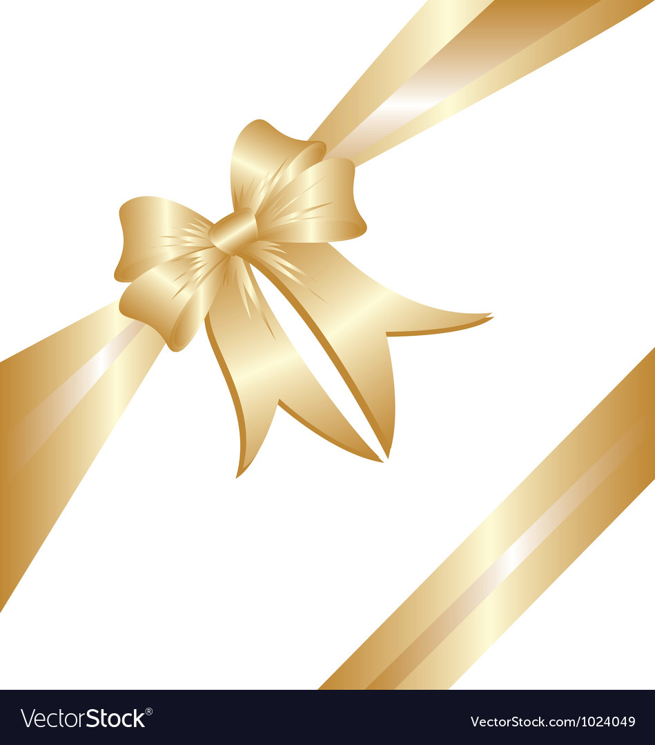 Gold ribbon christmas gift vector