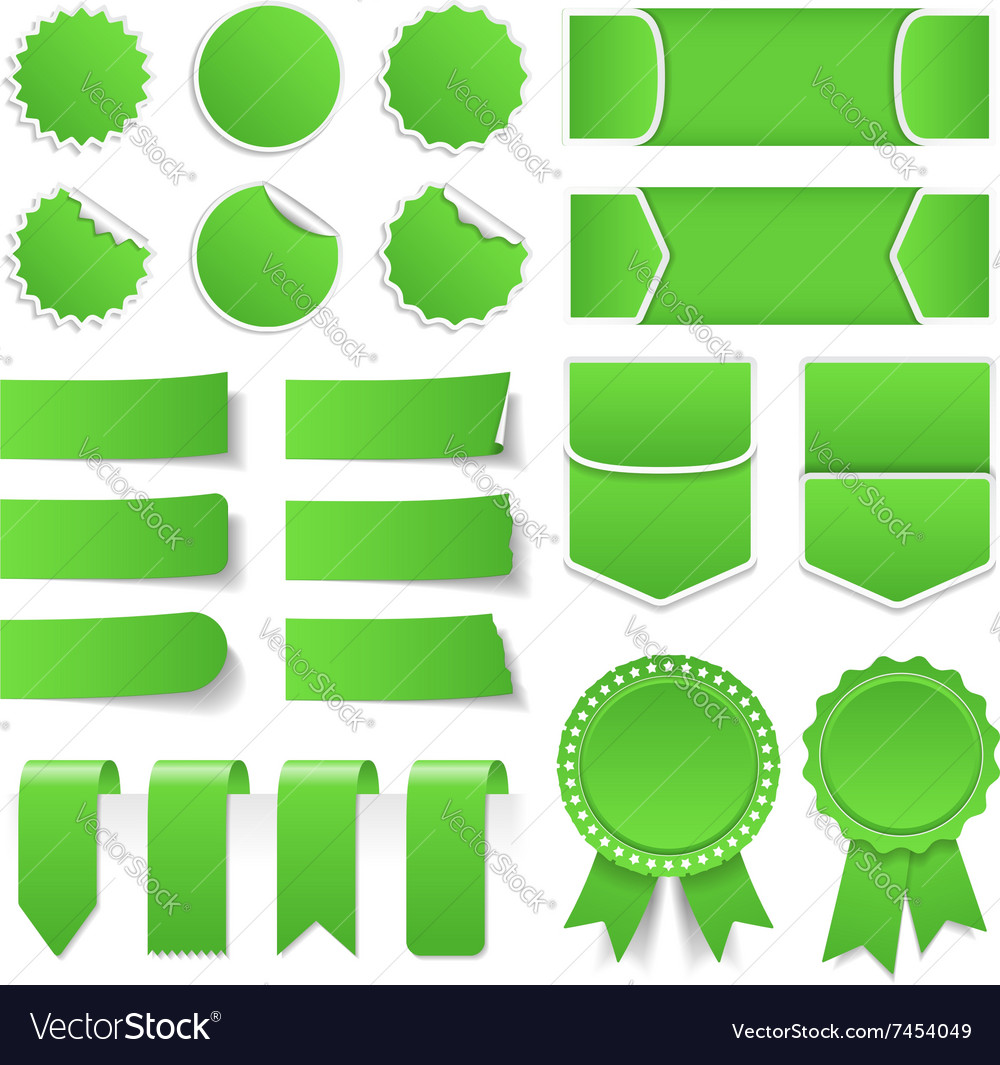Green price tags stickers banners vector