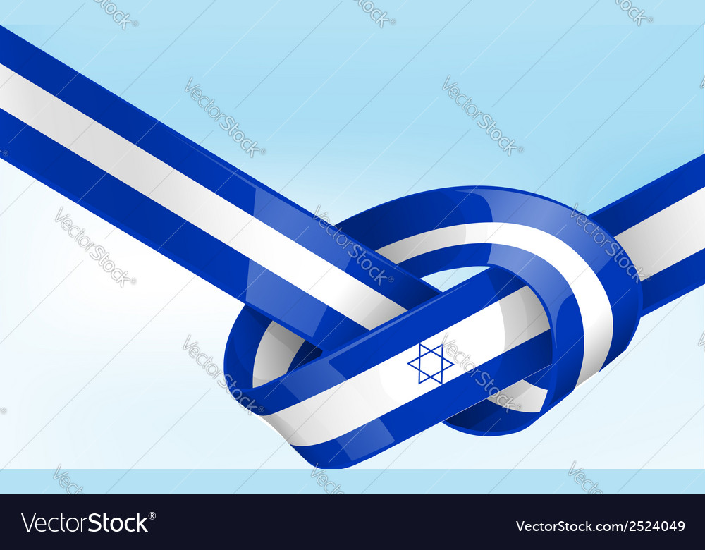 Isdrael ribbon flag on background vector