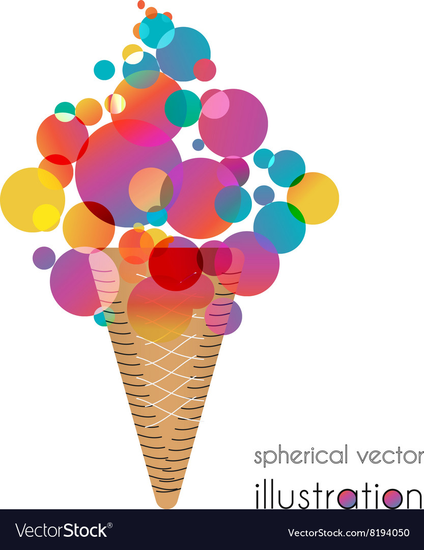 Ice cream with colored balls vector