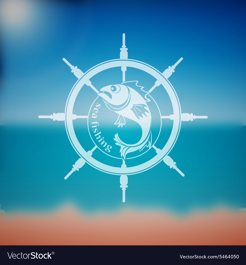 Label marine theme vector