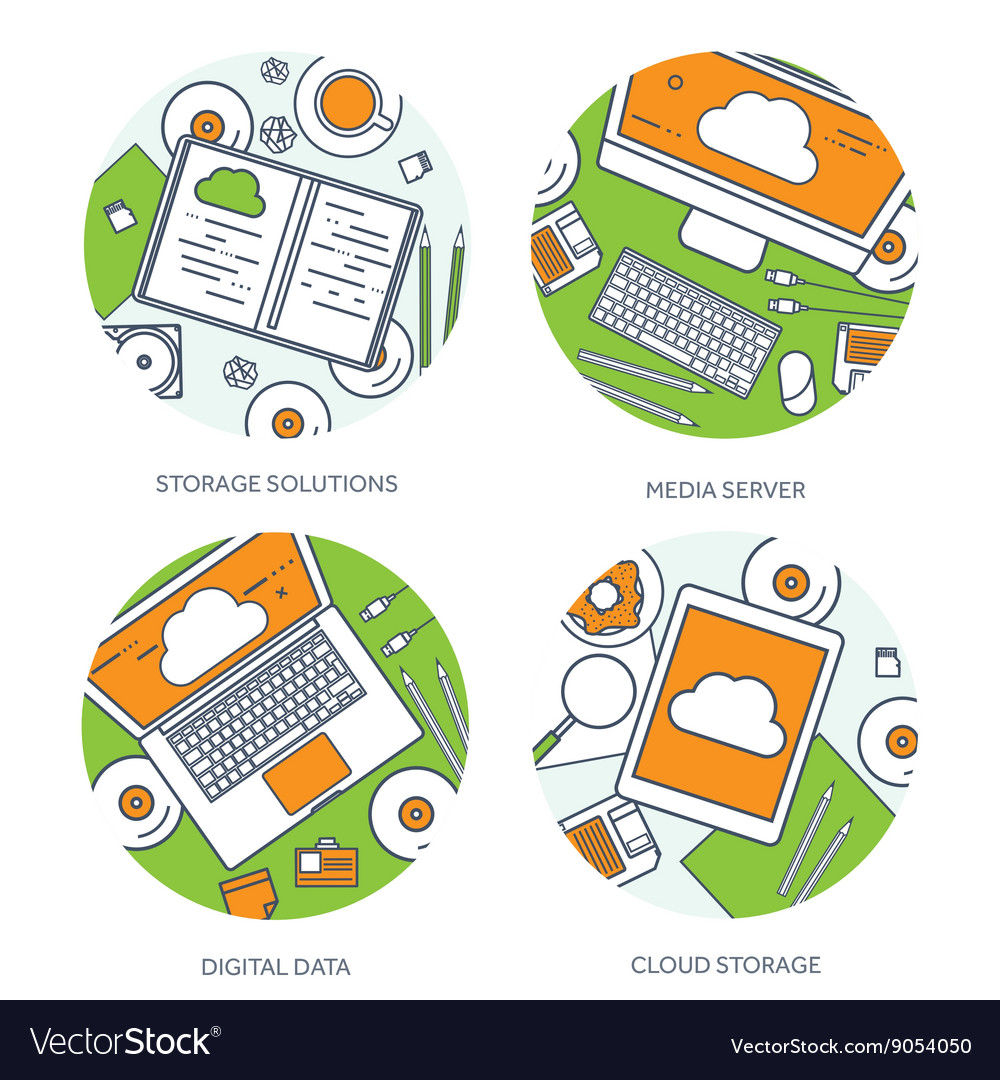 Lined outline workplace vector