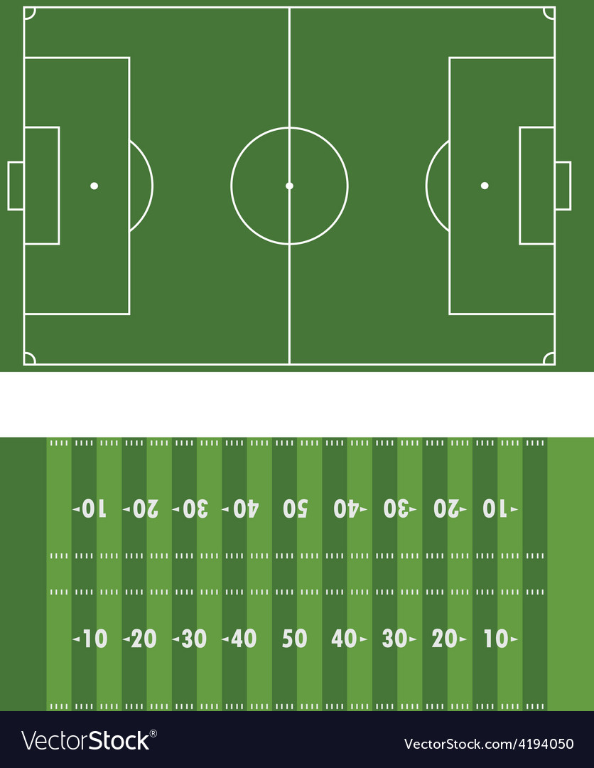 Soccer and american football field vector