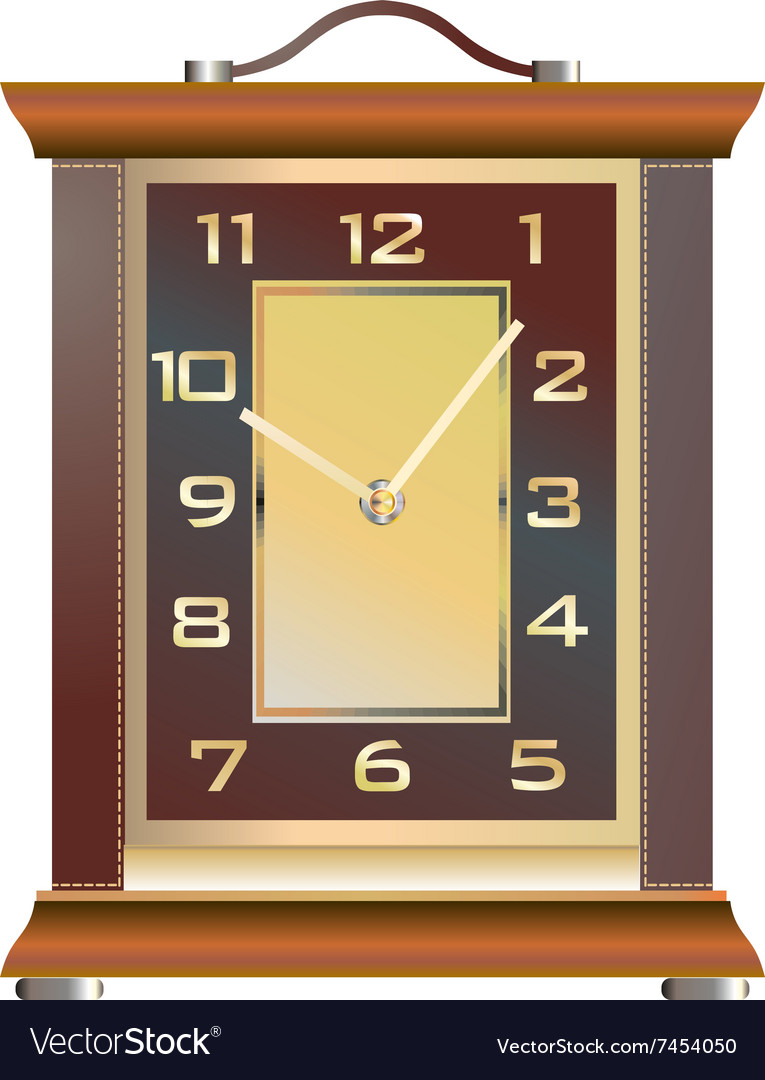 Vintage table clock on a white background vector