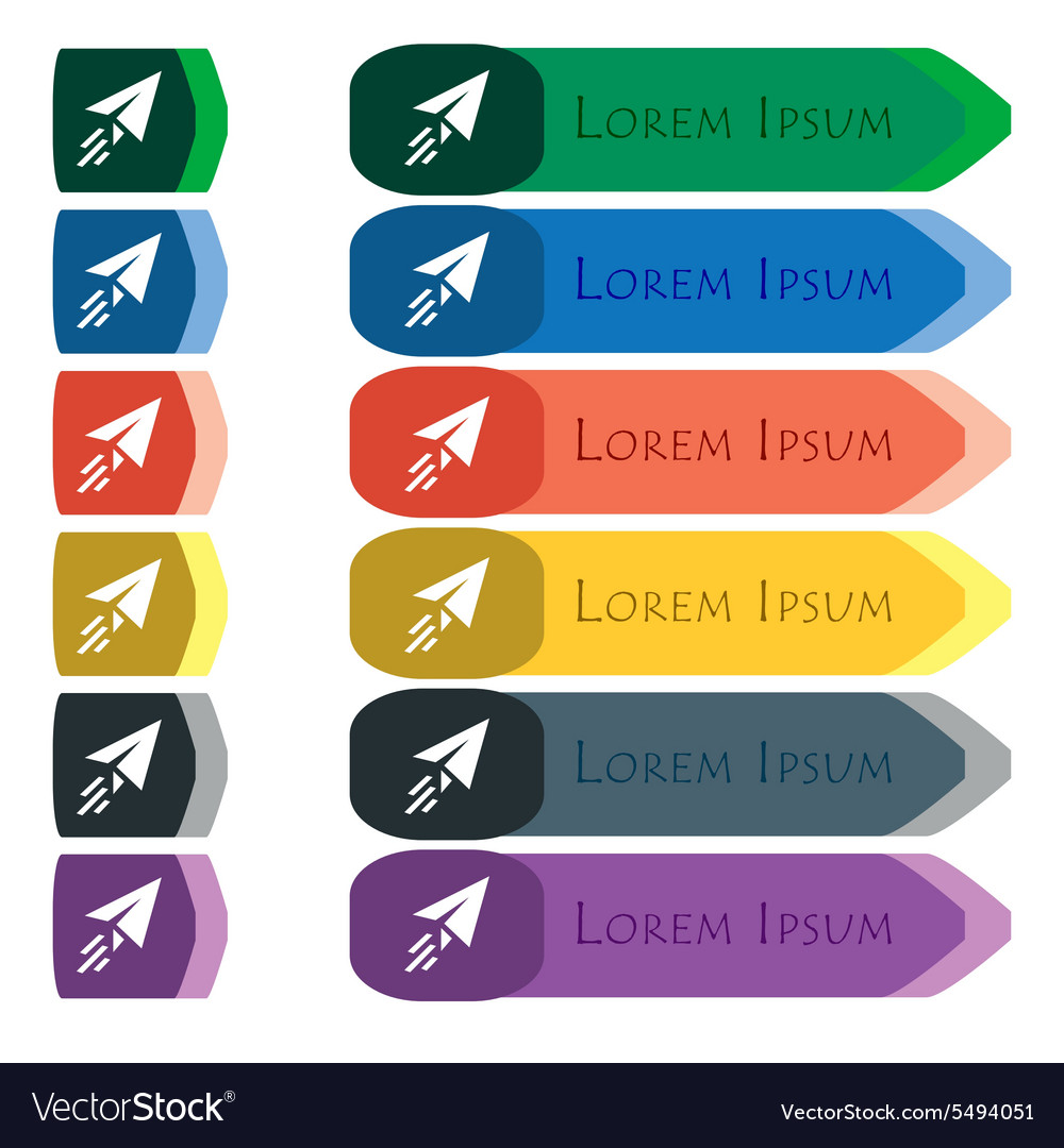 Paper airplane icon sign set of colorful bright vector