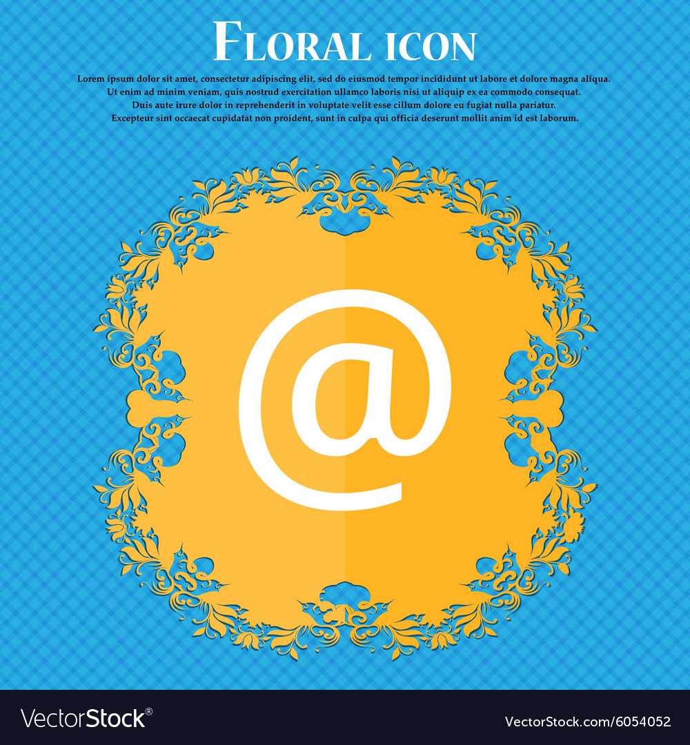 Email floral flat design on a blue abstract vector