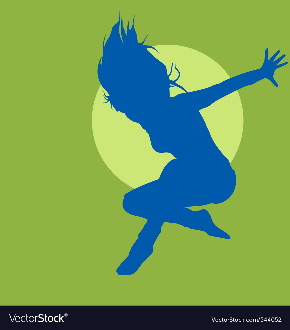Jumping woman silhouette vector