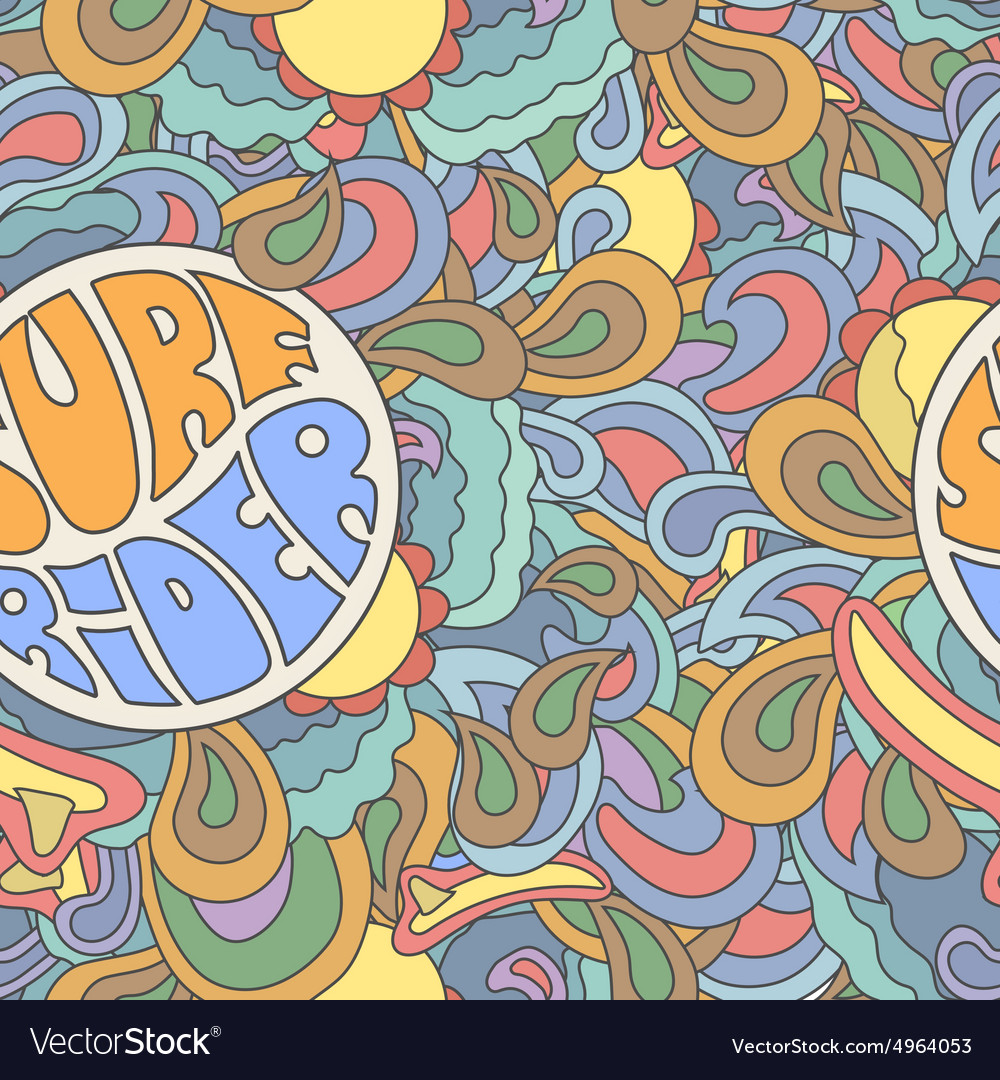 Colored surfing retro hand drawn pattern summer vector