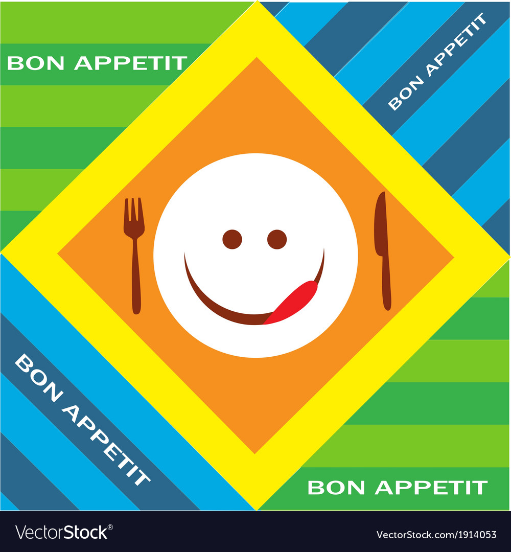Hungry emoticon with fork and knife vector