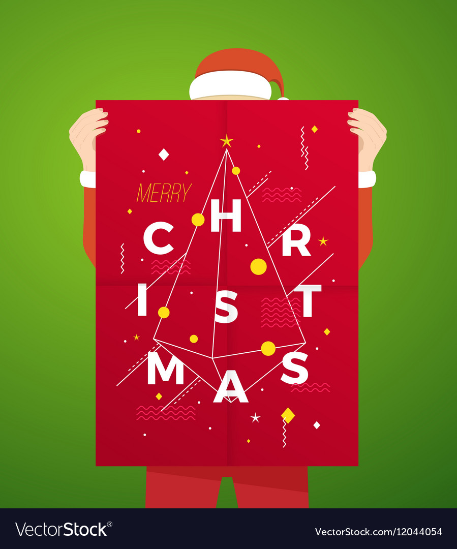 Flat style person wearing santa suit holding vector