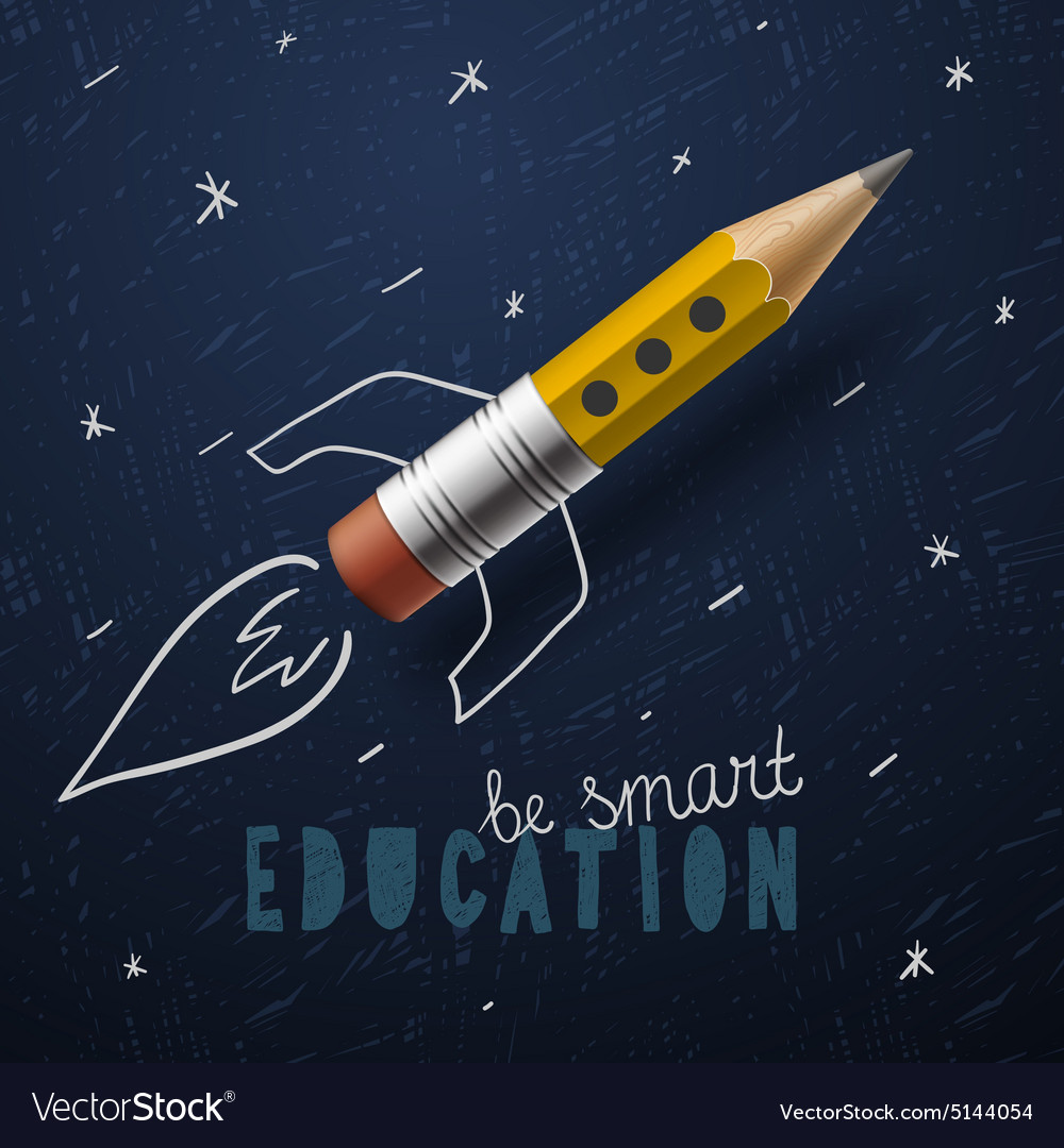 Smart education rocket ship launch with pencil  vector