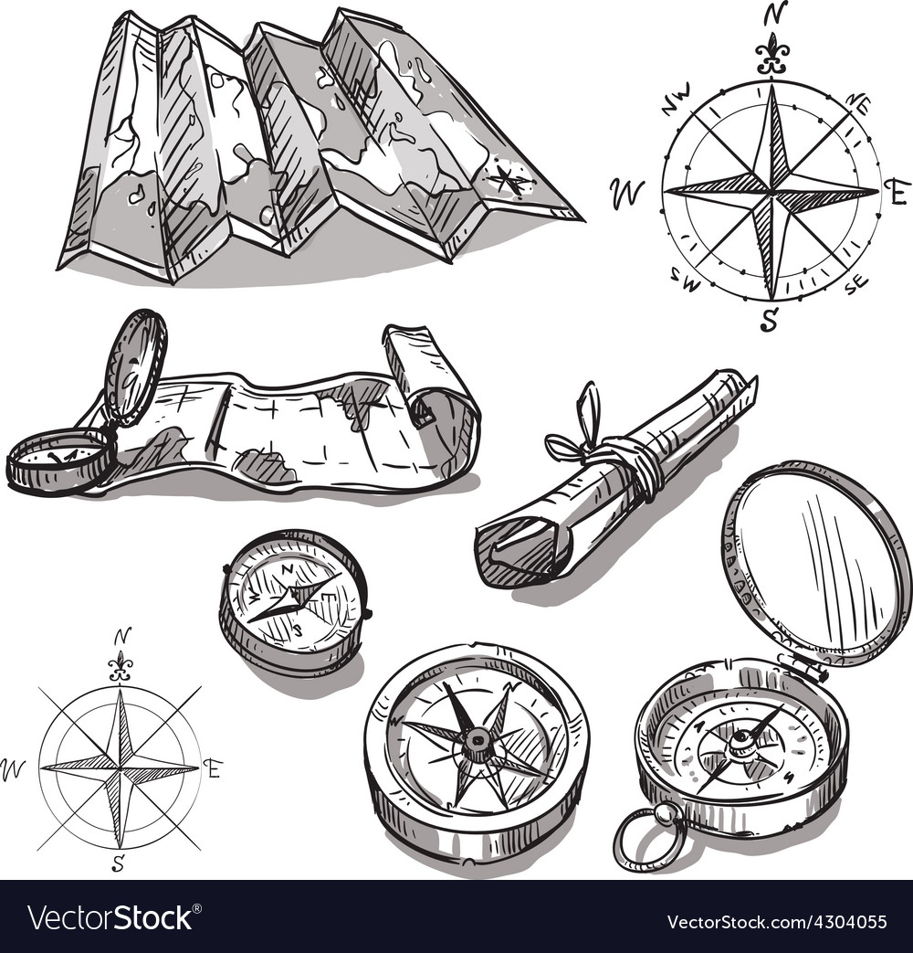 Set of hand drawn compasses and maps vector