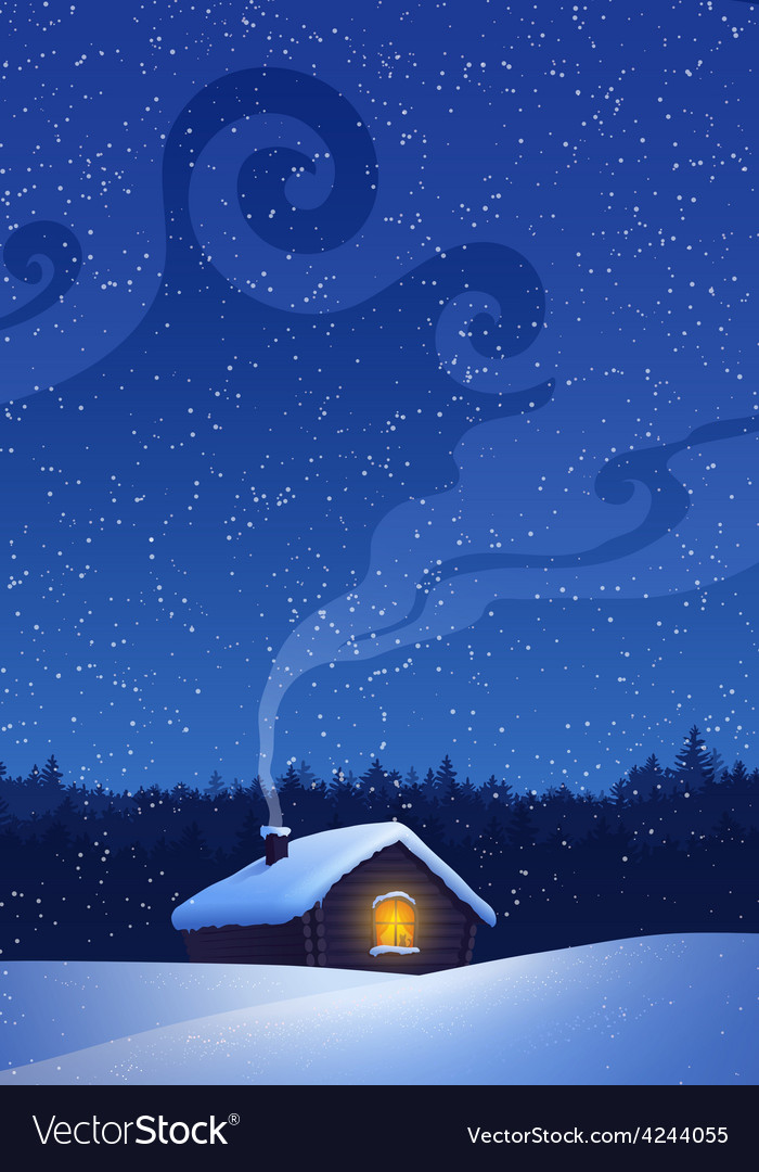 Winter landscape with house vector