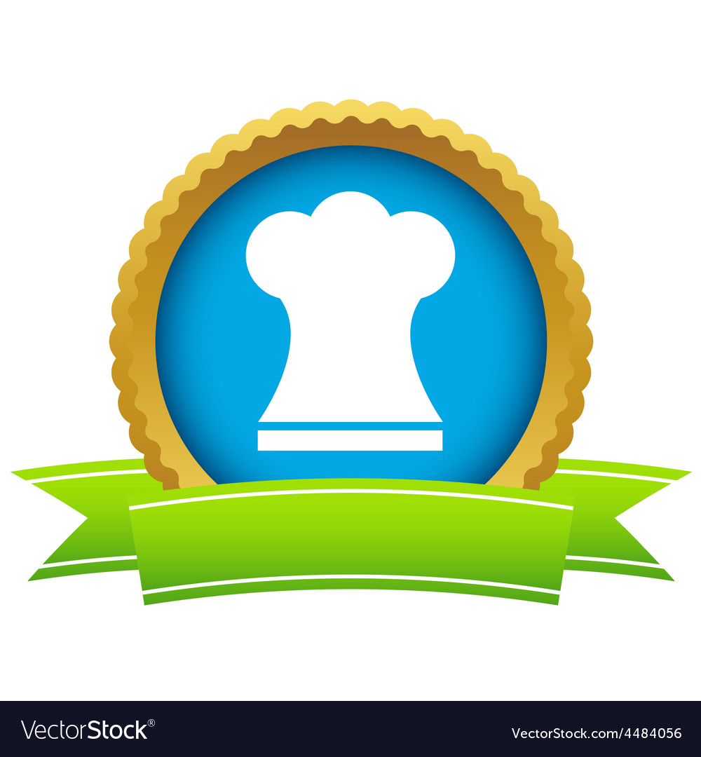 Gold chef hat logo vector