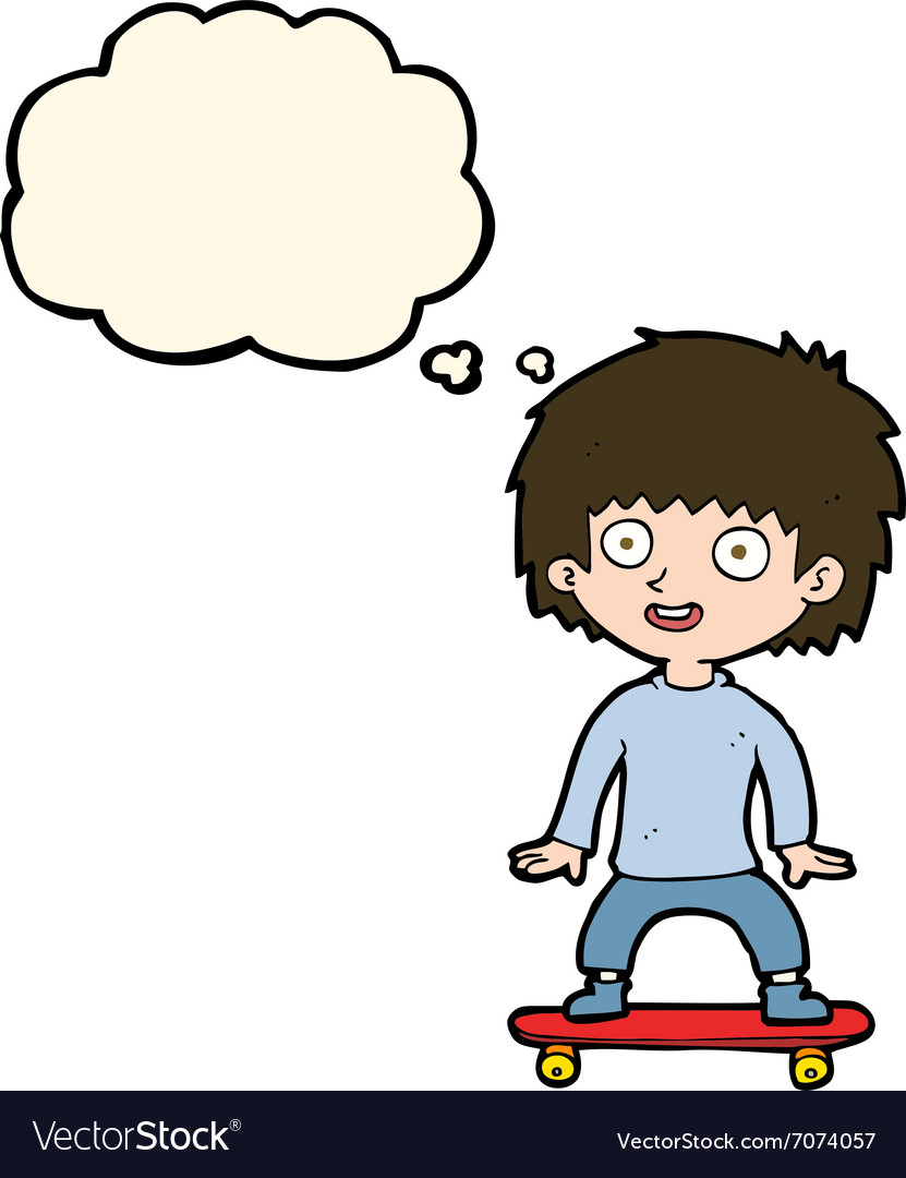 Cartoon boy on skateboard with thought bubble vector