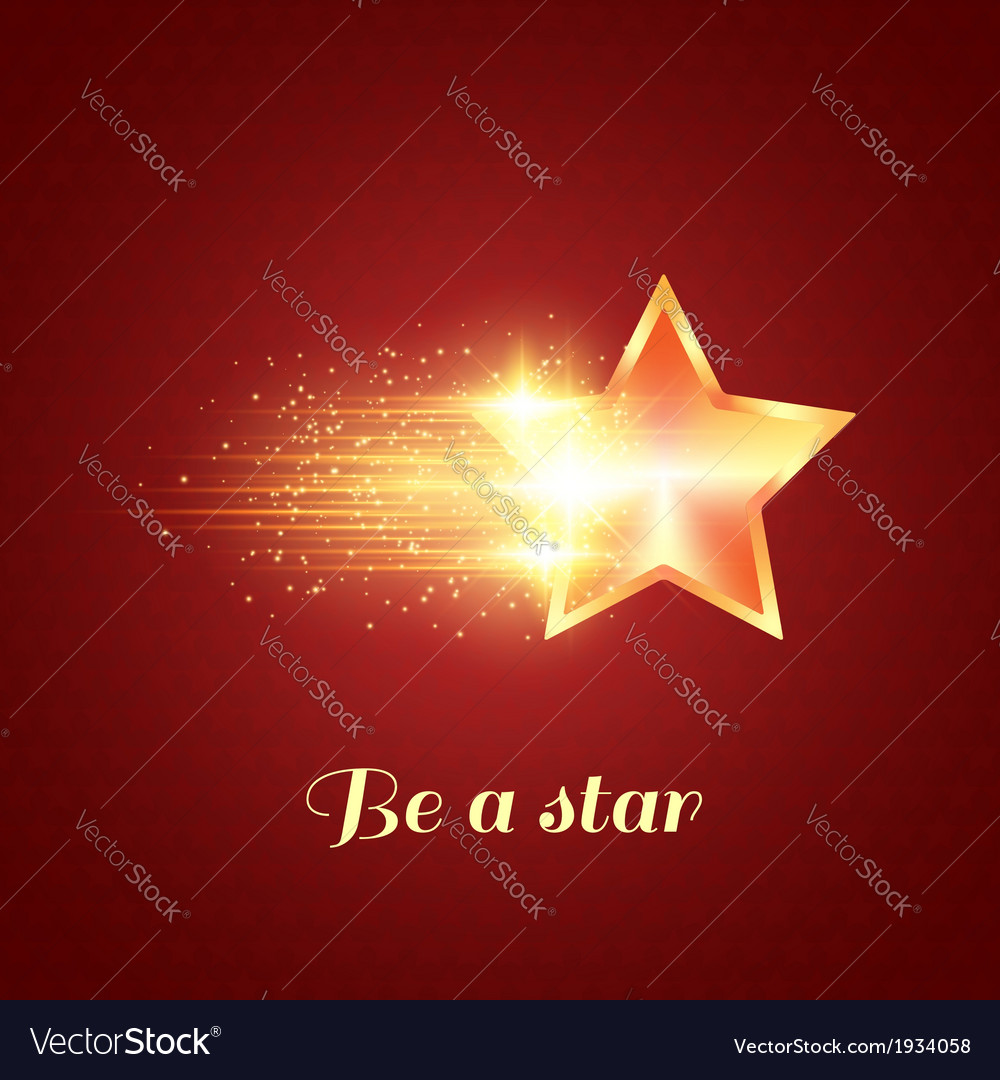 Background with glowing golden star vector