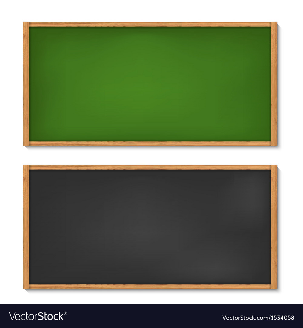 Blank black and green chalkboard with wooden frame vector