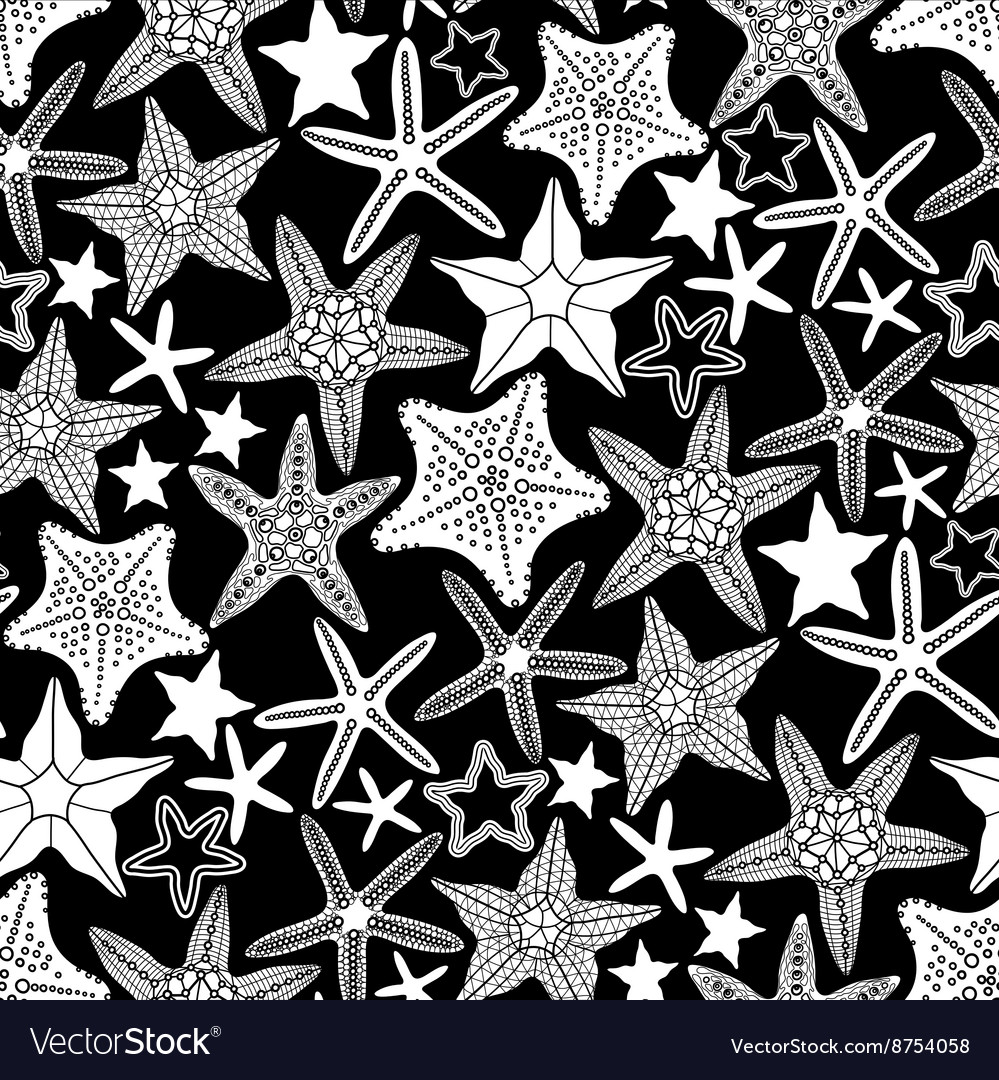 Graphic starfish seamless pattern vector