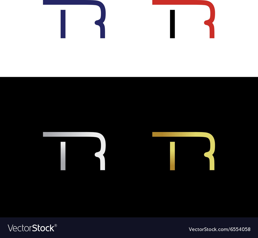 Simple abstract initials wit letter t and letter r vector
