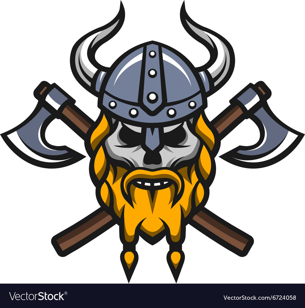 Viking warrior skull and axes logo vector