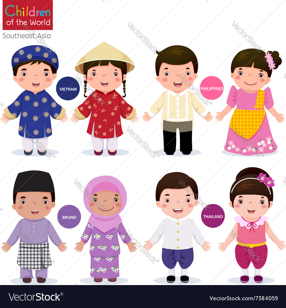Children of the world vietnam philippines brunei vector