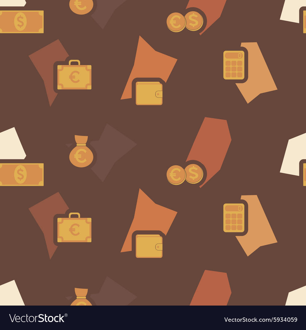 Seamless background with financial icons vector