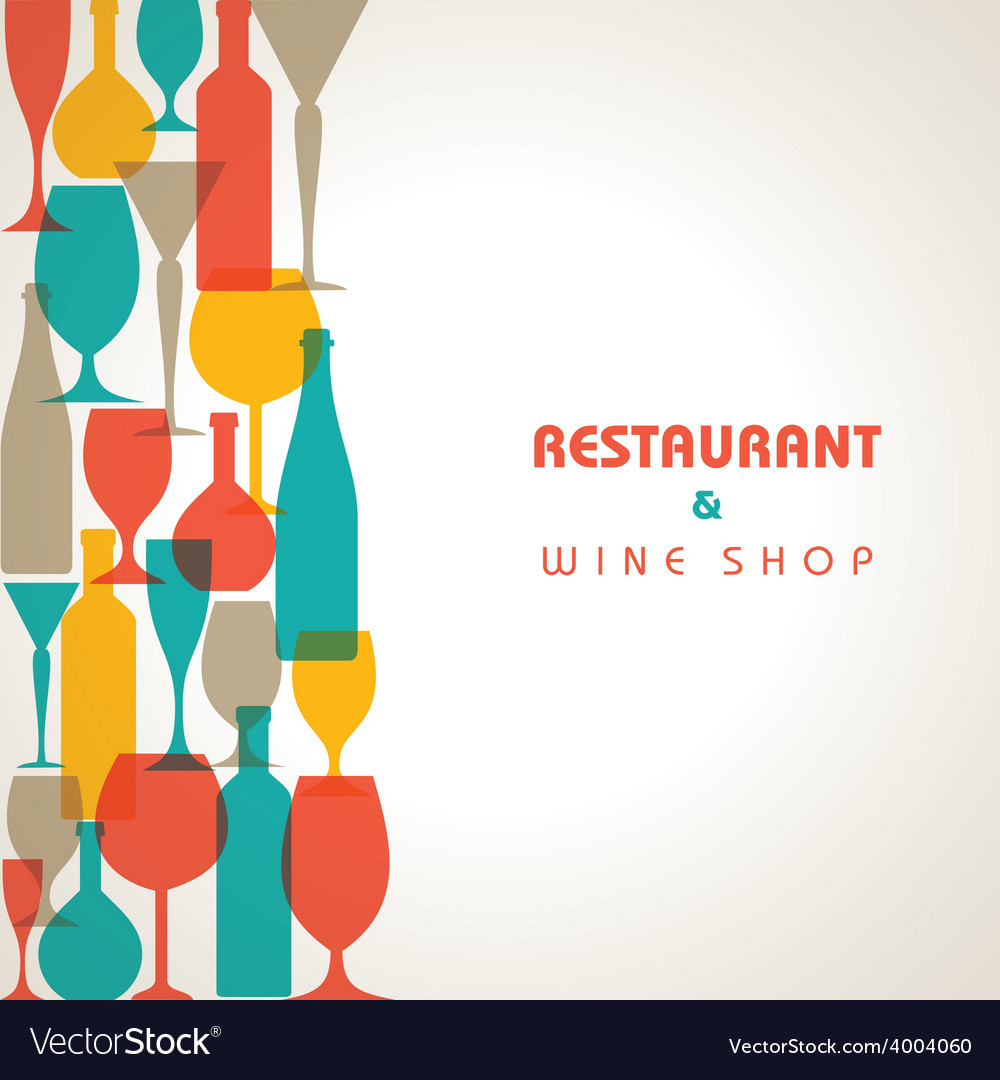 Abstract retro cocktail glass and bottle backgroun vector