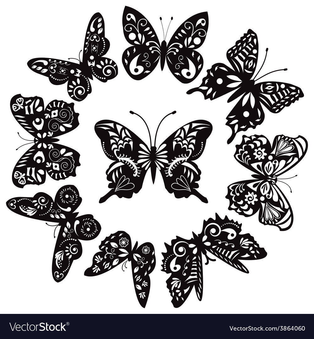 Butterflies silhouette for tattoo vector