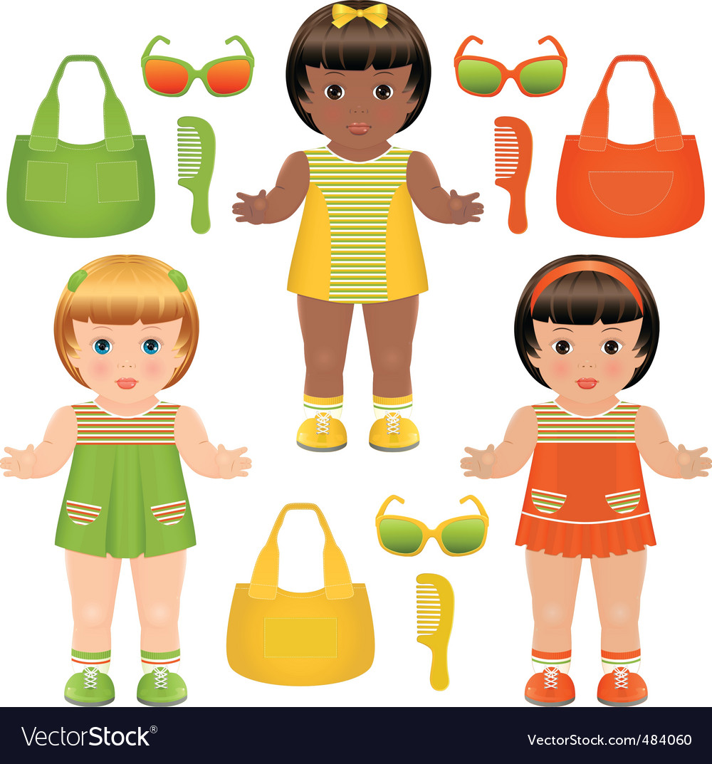Girls dolls vector