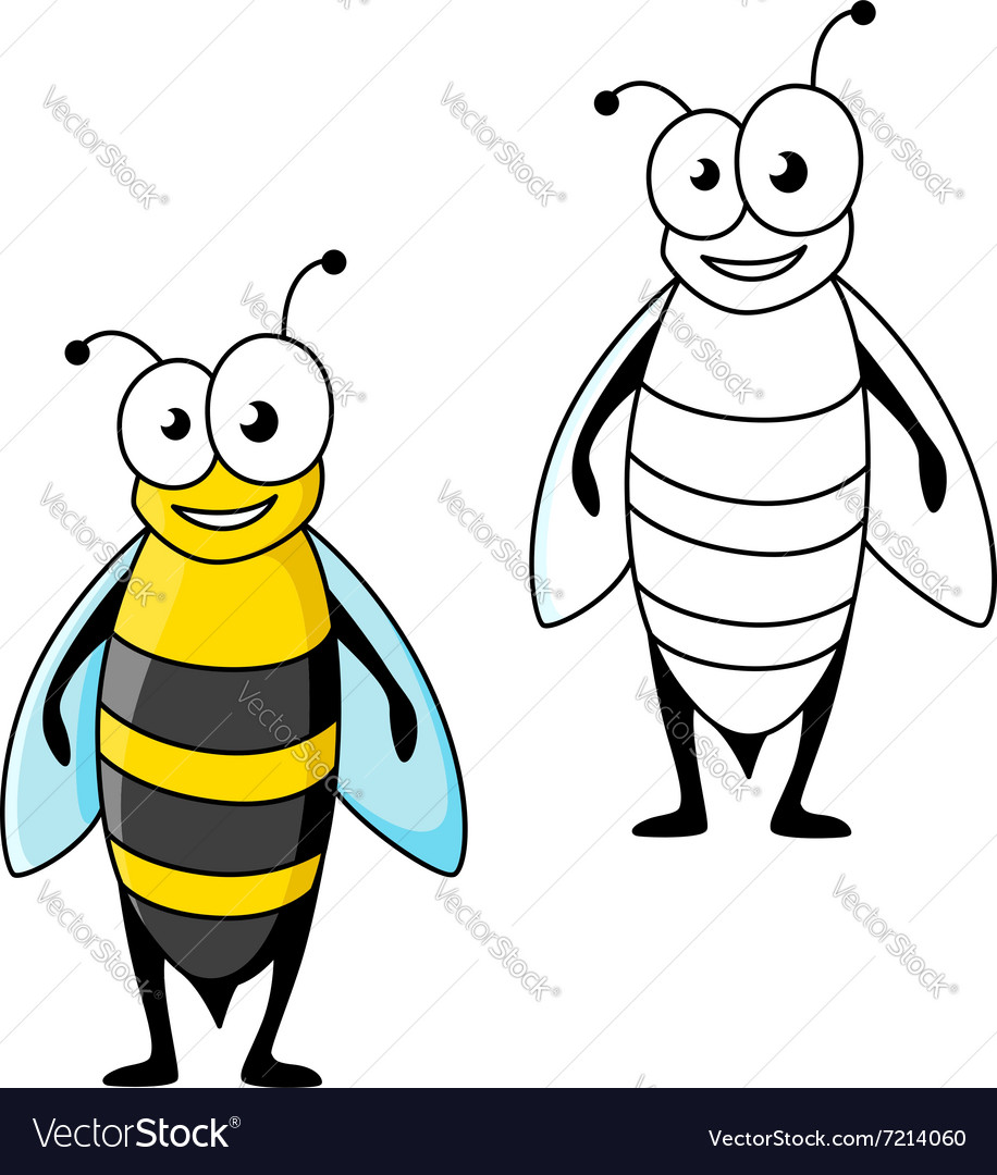 Smiling cartoon black and yellow striped wasp vector