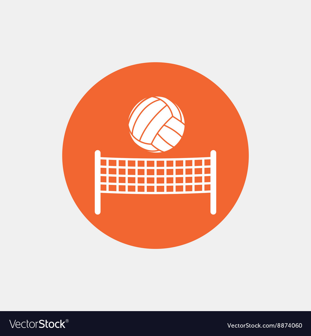 Volleyball net ball icon beach sport symbol vector