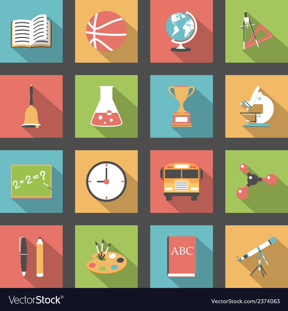 School flat icons set vector