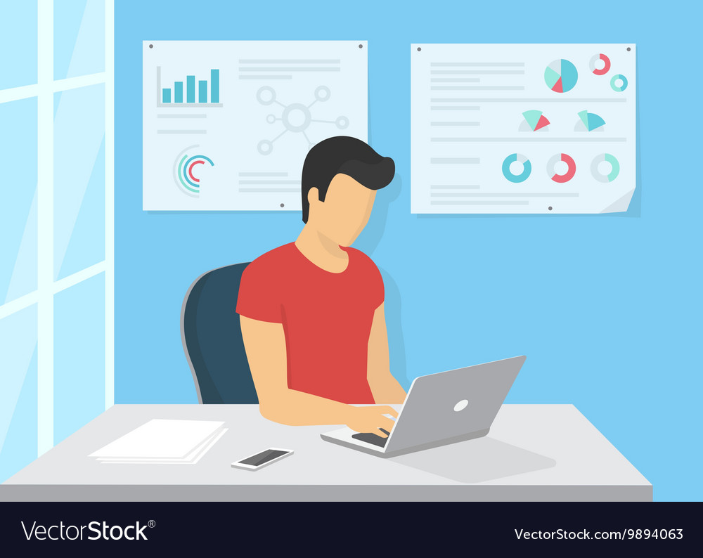 Young man sitting in the office at work desk and vector
