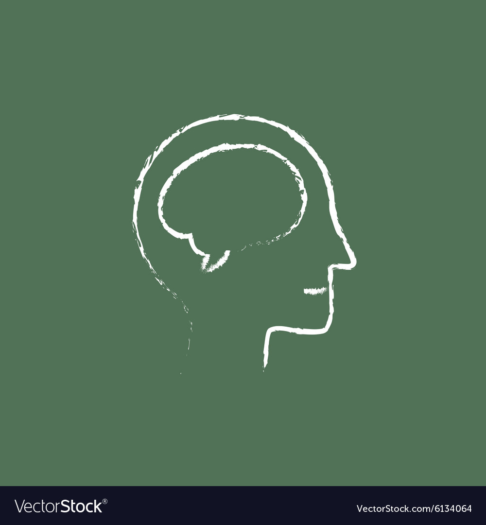 Human head with brain icon drawn in chalk vector