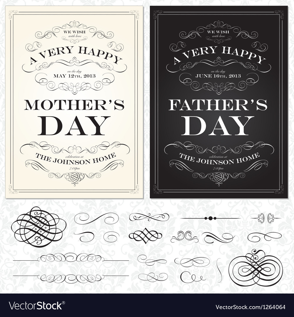 Mothers and fathers day frames vector