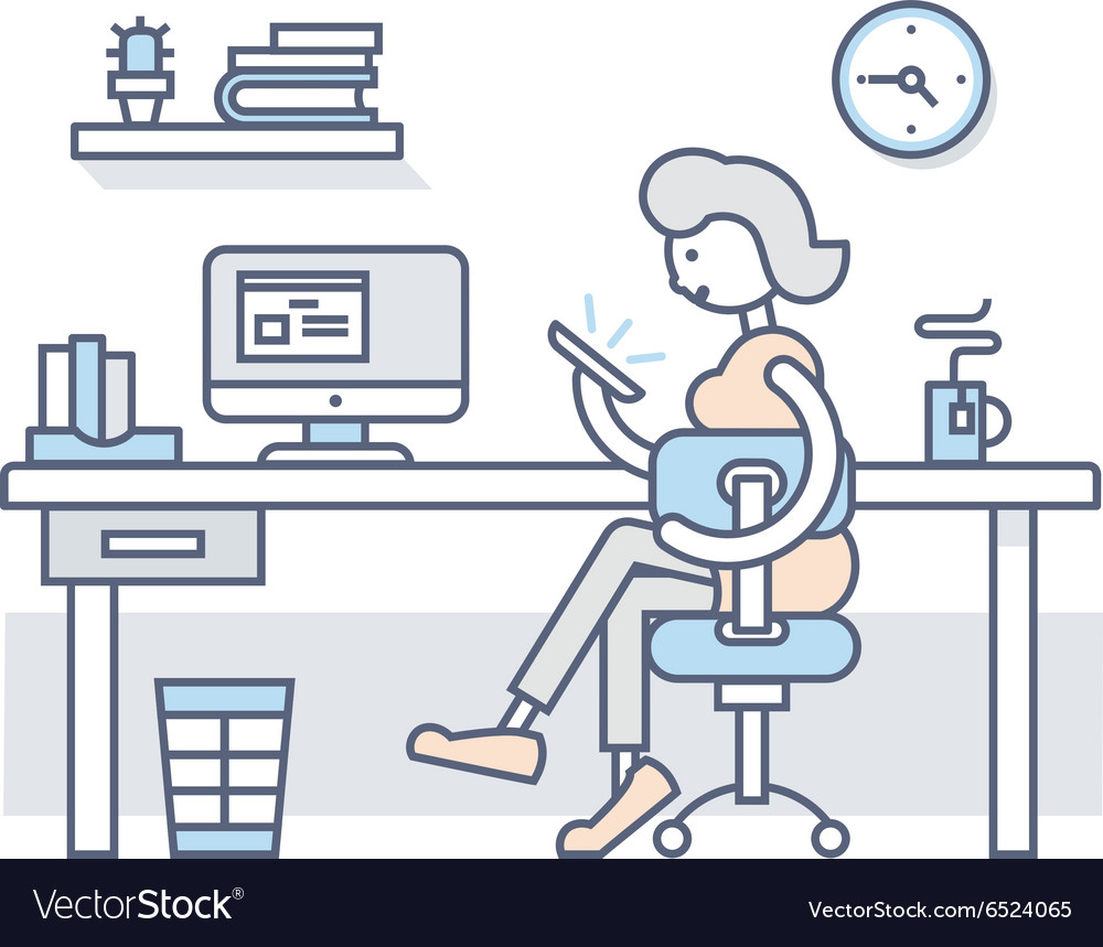 Girl in office looking into smartphone vector