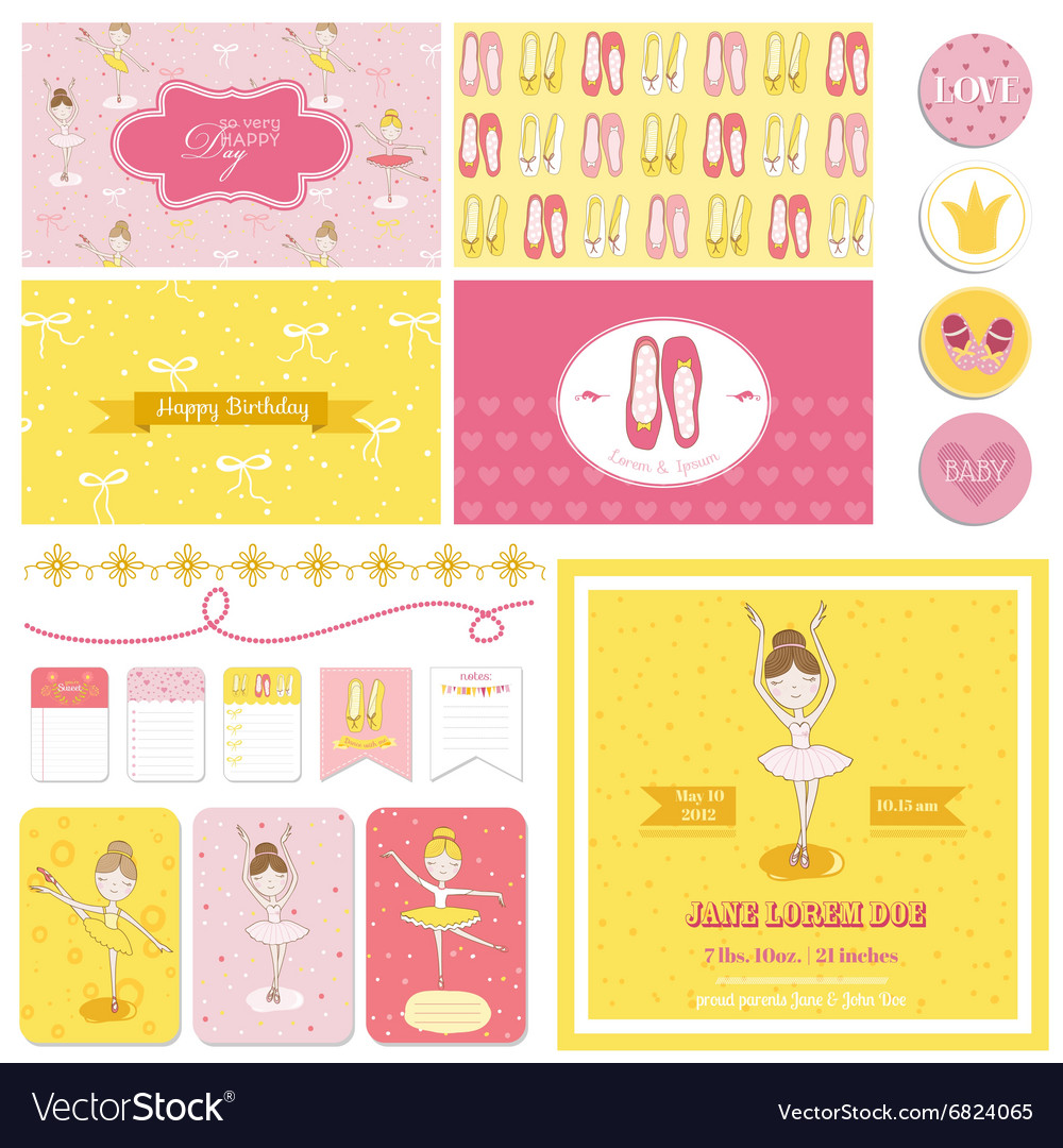 Scrapbook design elements  cute balerina set vector