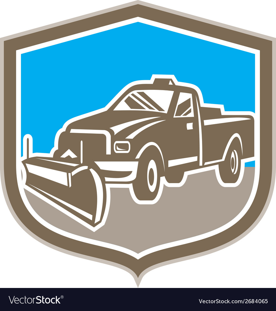 Snow plow truck shield retro vector