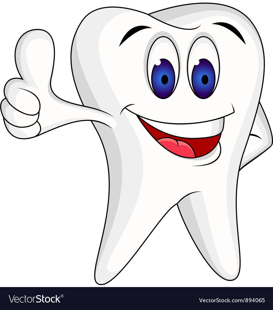 Tooth character cartoon vector