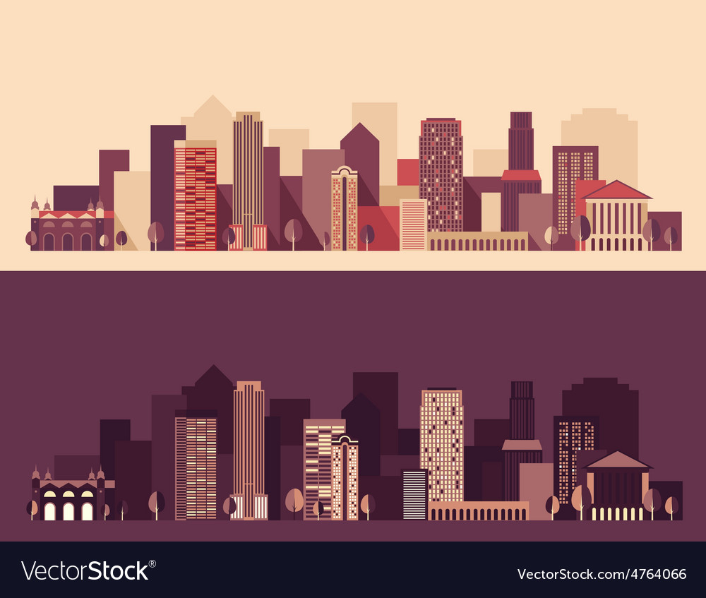 New big city megapolis day and night buildings vector