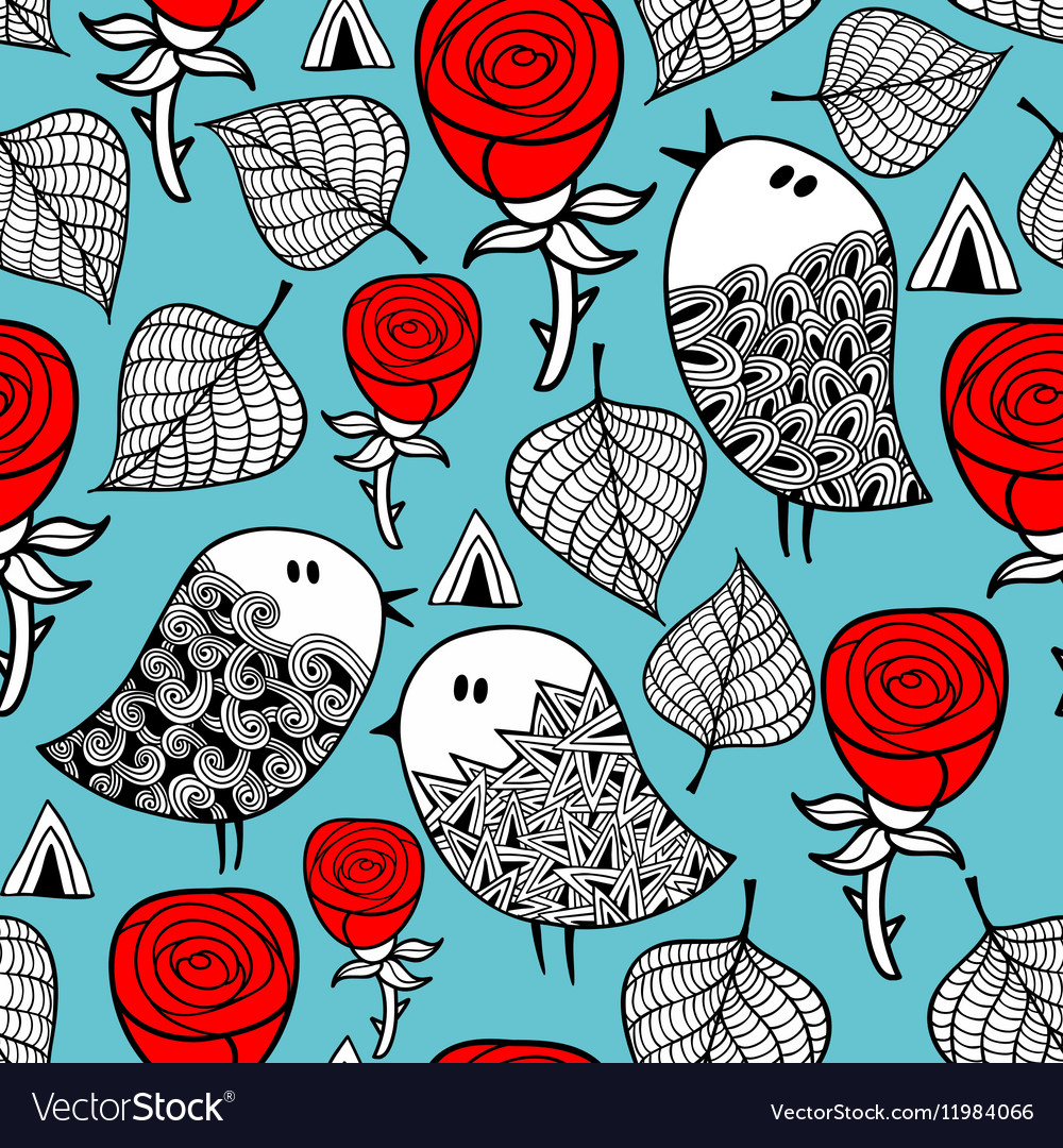 Red roses and romantic birds seamless pattern vector